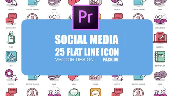 Social Media – Flat Animation Icons (MOGRT)