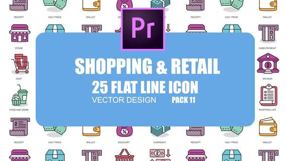 Thumbnail for Shopping et vente au détail - Icones d'animation plate (MOGRT)