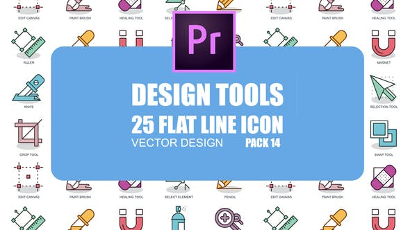 Thumbnail for Design Tools – Flat Animation Icons (MOGRT)