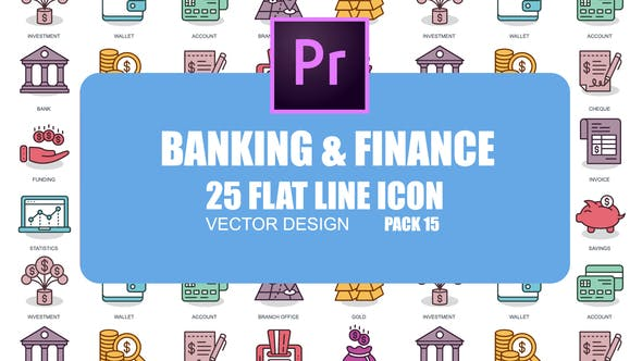 Thumbnail for Banques et Finance — Icones d'animation plate (MOGRT)