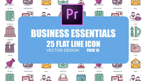 Thumbnail for Business Essentials – Flat Animation Icons (MOGRT)