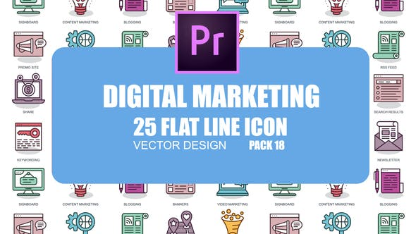 Cover Image for Digital Marketing – Flat Animation Icons (MOGRT)