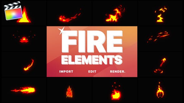 Thumbnail for Cartoon Fire Elements | Final Cut