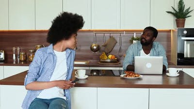 african american couple having breakfast
