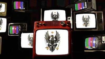 Flag of Prussia on Retro TVs.
