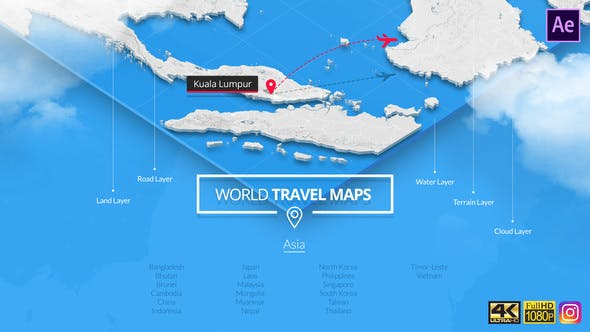 World Travel Maps - Middle East and Asia von SOUTH11 auf ...