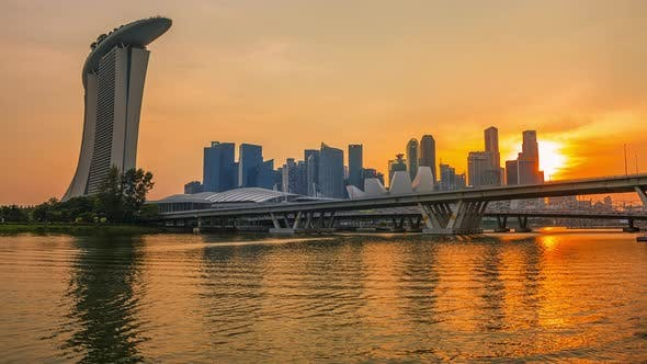 Thumbnail for Golden Sunset over Singapore Downtown