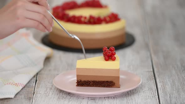 Thumbnail for Piece of Triple Chocolate Mousse Cake with Red Currant.