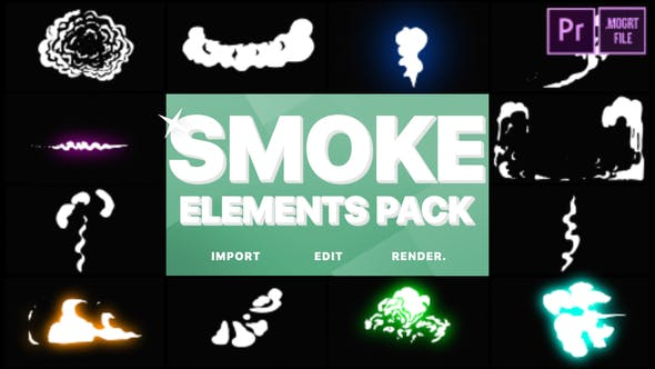 Thumbnail for Cartoon Smoke Elements | Premiere Pro MOGRT