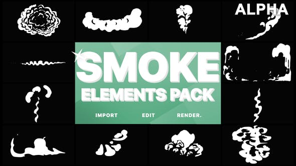 Thumbnail for Cartoon Smoke Elements | Motion Graphics Pack