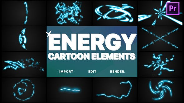 Thumbnail for Cartoon Energy Elements | Premiere Pro MOGRT