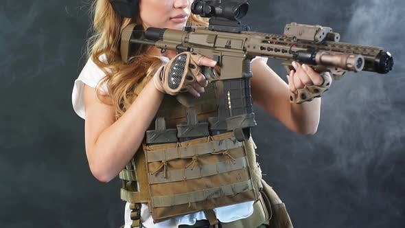 Thumbnail for Woman Sniper with Sniper Rifle. Female in Army Soldier with Machine Gun. Slow Motion