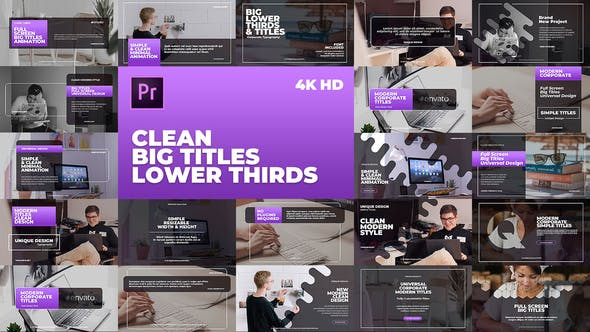 Thumbnail for Clean Big Titles Lower Thirds – Mogrt