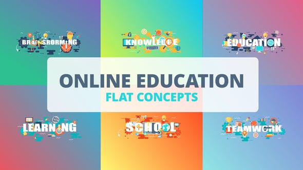 Thumbnail for Online Education - Typography Flat Concept