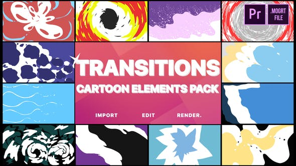 Thumbnail for Cartoon Transitions | Premiere Pro MOGRT