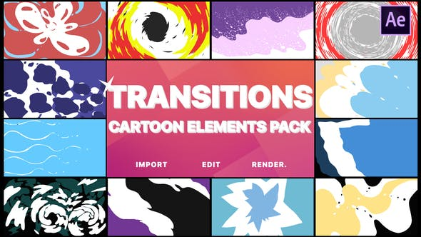 Thumbnail for Cartoon Transitions | After Effects
