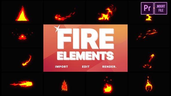 Thumbnail for Cartoon Fire Elements   Premiere Pro MOGRT