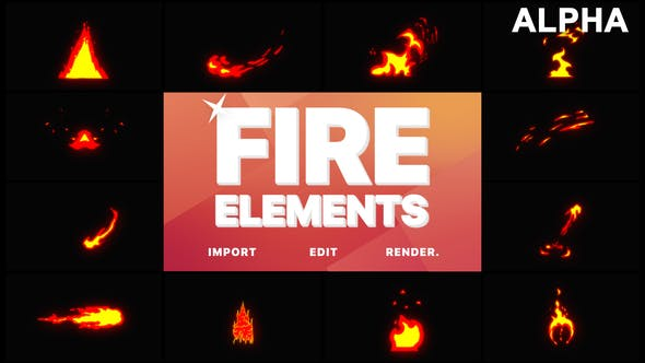 Thumbnail for Cartoon Fire Elements | Motion Graphics Pack