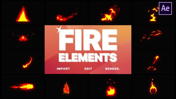 Thumbnail for Cartoon Fire Elements | After Effects