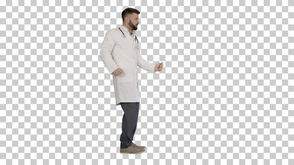 Thumbnail for Arab doctor dancing and having fun, Alpha Channel