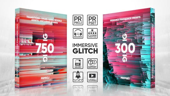 Glitch Transitions, Presets, Titles, Logos, Assets, Sound FX Pack