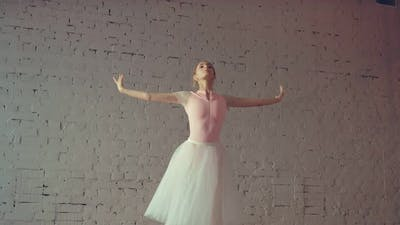 Professional Dancer Rehearses on Pointe in the Hall