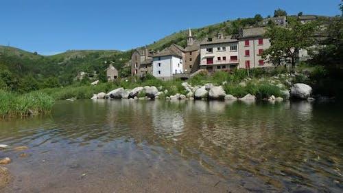 Pont de Montvert and the river Tarn, Mont Lozere, National park of Cevennes, France