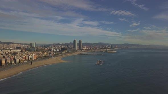 Thumbnail for AERIAL: Over Barcelona Beach, Blue Sky, Summer, Sunny