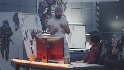 Video Game Developers Brainstorming