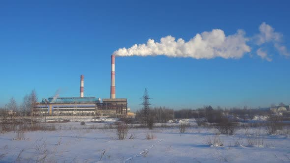 Thumbnail for Time Lapse of Power Station. Industrial Landscape.