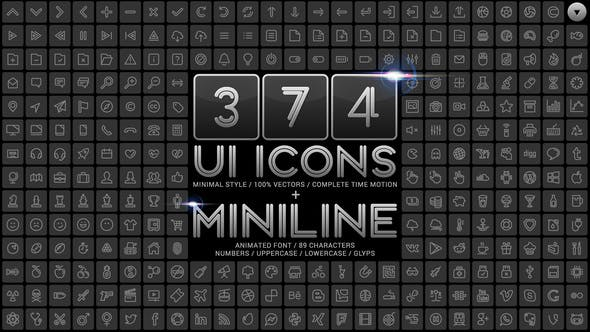 Thumbnail for UI Minimal Icons & Miniline Font