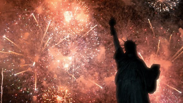 Thumbnail for Statue of Liberty With Colorful Fireworks