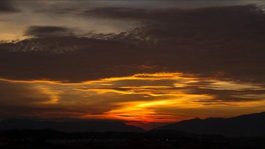 Golden Sunrise With Red Sky Time Lapse