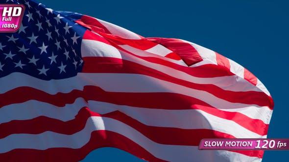 Thumbnail for Trembling USA Flag On Blue Sky Background