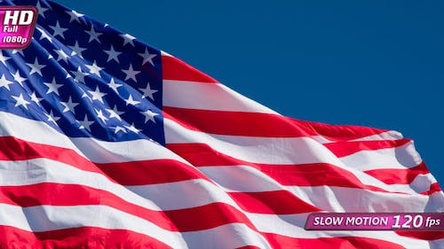 US Flag In The Blue Sky