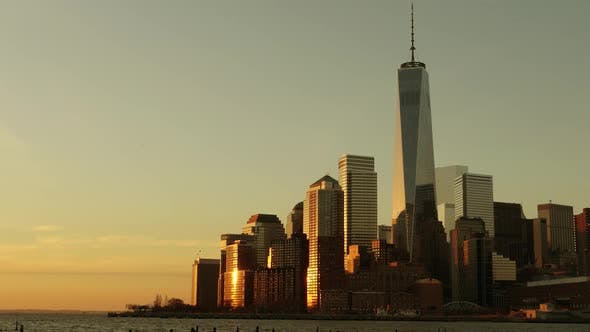 Thumbnail for Establishing Shot of New York City High Rise Business District