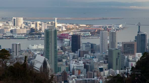 Thumbnail for Kobe Coastal District View From Hill Top Timelapse