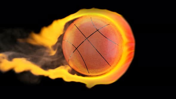 Thumbnail for Flying basketball on fire on a black background
