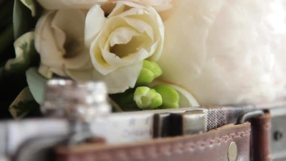 Thumbnail for Wedding Rings with Diamonds Near Flowers, Dynamic Change of Focus