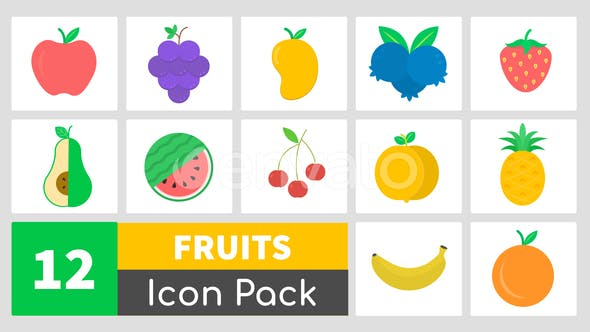 Thumbnail for Animated Fruits Icon Pack