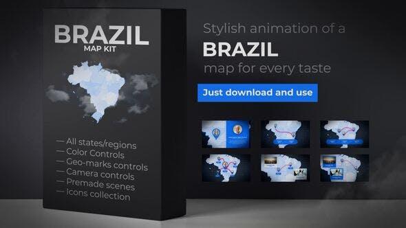 Thumbnail for Brazil Map - Federative Republic of Brazil Map Kit - Brasil