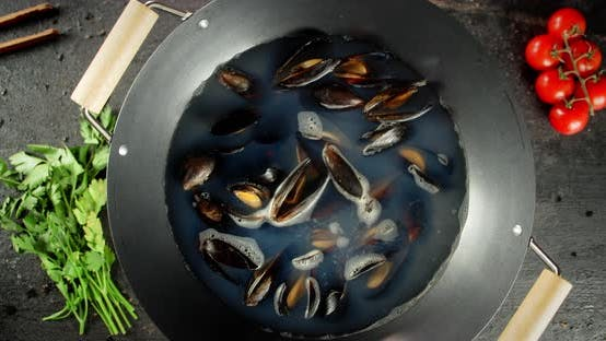 Thumbnail for Cook the Delicious Mussels in a Saucepan.