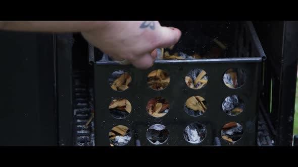 BBQ Smoker with Ribs Inside