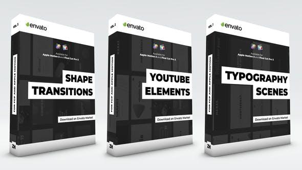 Typographie-Szenen, Unterer Drittel, YouTube-Kit und Shape-Übergänge