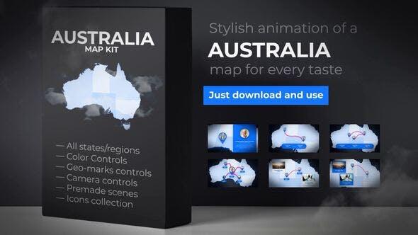 Australia Map Animation - Commonwealth of Australia Map Kit