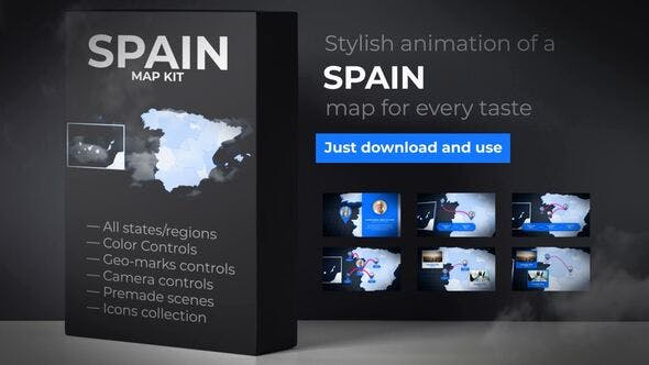 Thumbnail for Spain Animated Map - Kingdom of Spain Map Kit