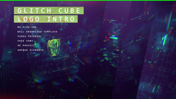 Thumbnail for Glitch Cube Logo 4k Intro/ Gaming Lasers/ Digital Distortion/ Error and Bad Signal/ Glass Aberration