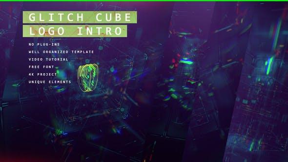 Glitch Cube Logo 4K Intro/ Lasers de jeu, distorsion numérique/erreur et mauvais signal/aberration en verre