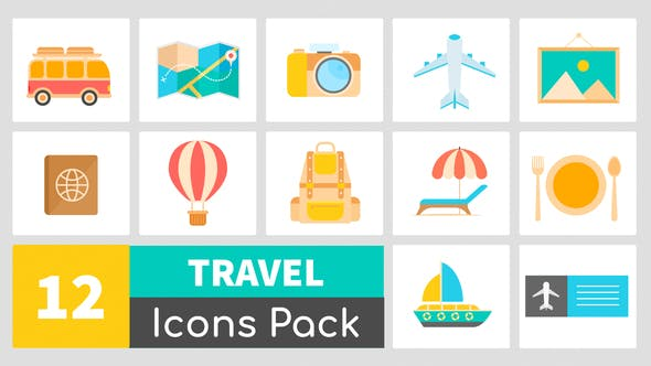 Animated Travel Icons Pack