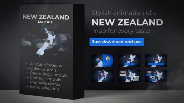 Thumbnail for Carte de la Nouvelle-Zélande - Aotearoa NZ Nouvelle Zélande Map Kit